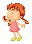 illustration of a girl biting apple on a white background