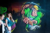 KATOWICE, POLAND - AUGUST 1: Graffiti murals by unknown artist created of the Katowice Street Art Fe