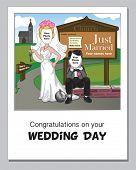 Lustige Hochzeit Tag Grußkarte.  Fügen Sie einfach Ihre eigenen Fotos, Hochzeitsdatum und Namen zum Abschließen der