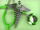 Stethoscope with symbol of medicine, caduceus. 3d