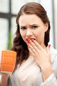 bright picture of lovely businesswoman with mug..