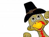 stock photo of happy thanksgiving  - Thanksgiving turkey face popping out of corner of image - JPG