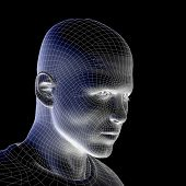 High resolution concept or conceptual 3D wireframe human male head isolated on black background as m