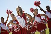 Portrait of cheerleaders with pom-pom on field