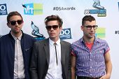 Los Angeles - AUG 19:  Andrew Dost, Nate Ruess and Jack Antonoff of the band fun arrives at the 2012