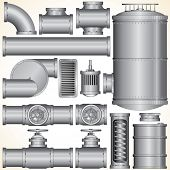 Industrial Pipeline Parts. Pipe, Tank, Valve, Motor, Shaft, Connector. Vector Illustration