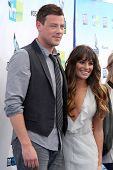 Los Angeles - AUG 19:  Cory Monteith, Lea Michele arrives at the 2012 Do Something Awards at Barker