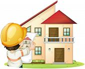 illustration of a house and engineer on a white background