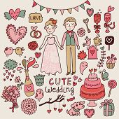 Cute wedding. Big cartoon romantic set in vector