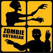 Zombie uitbraak silhouetten