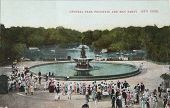 Fountain And May Partin In Central Park In 1905