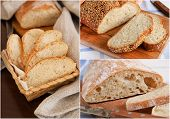 Collage of fresh homemade bread