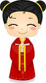 Illustration of Cute Little Chinese Girl Wearing Traditonal Costume Cheongsam