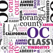 Seamless orange county california beauty typography retail background pattern in vector