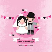 Bride and Groom wedding couple retro illustration postcard cover template design in vector