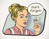 Young woman is reminding something. Vector illustration in comics style.