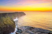 Cliffs of Moher in Co. Clare at sunset, Ireland