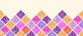 Floral mosaic tiles horizontal seamless pattern border