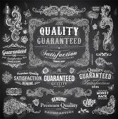 Vector set of calligraphic design elements: page decoration, Premium Quality and Satisfaction Guaran