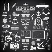 Hipster style infographics elements and icons set for retro design. With bicycle, sunglasses, mustache, bow, anchors, apple and camera. Vector illustration. Chalkboard background. Black vector version