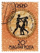 Two Boxers In Antique Style On Post Stamp