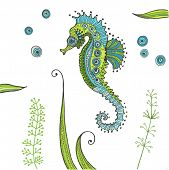 Tropical Seahorse background - in vector