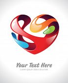 Vector illustration of a colorful stylized heart