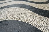 Azulejos de adorno de la onda en el Largo Senado - Senado, Plaza del Senado: pavimento portuguesa, Macao