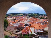 Medieval Czech Town Cesky Krumlov On Vltava poster