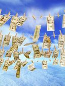 Money On Clothes Line Multi Windy Sky Falling