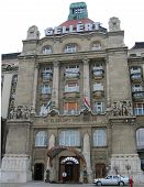 ellert Hotel Palace entrance facing Denube river in Budapest