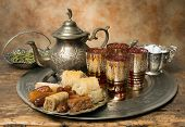 Oriental tea tray and cookies symbolising Moroccan hospitality