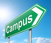 stock photo of quadrangles  - Illustration depicting a sign directing to Campus - JPG