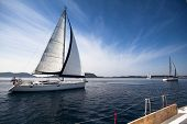 stock photo of sailing vessel  - Sailing yacht race - JPG