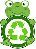 Frog Hugging Banner With Recycle Symbol