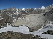Nuptse Glacier, Moraines And Peak Of Pumo Ri