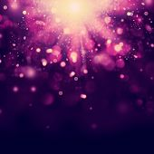 Violet Festive Christmas background. Purple Abstract Backdrop with Lights and Stars. Bokeh