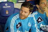 BARCELONA - MAY, 11: Xabi Alonso of Real Madrid on the bench  during the Spanish League match betwee