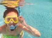 Постер, плакат: Маленькая девочка плавание под водой и улыбается