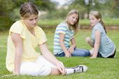 pic of child obesity  - Two young girls bullying other young girl outdoors - JPG