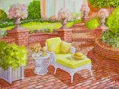 Brick Patio With Wicker Lounge Chair