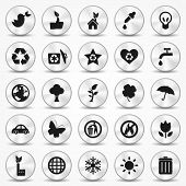 Aluminium Ecology icons set. Environment Symbols