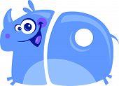 Number 10 funny cartoon happy smiling rhino running