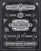 Hand drawn blackboard banner and ribbon vector illustration with texture added. Black chalkboard bac