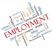 picture of paycheck  - Employment Word Cloud Concept Angled with great terms such as work company boss job and more - JPG