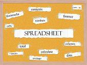 Spreadsheet Corkboard Word Concept