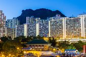 pic of overpopulation  - Kowloon residential building at night - JPG