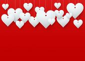 Background beautiful red heart. Vector.