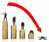 picture of going out business sale  - Businessman lose coins with a red arrow going down - JPG