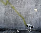Los Angeles, Usa - October 17: Banksy Graffiti On A Wall (pissing Dog) On October 17, 2011 In Los An